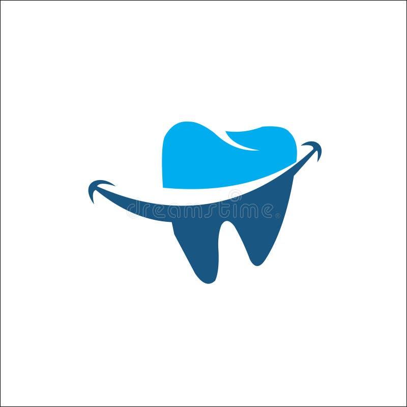 Zahnmedizinisches Logoschablonen-Vektorblau stockfotos