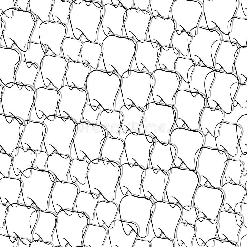 Zahnmedizinisches nahtloses Schwarzweiss-Muster stock abbildung