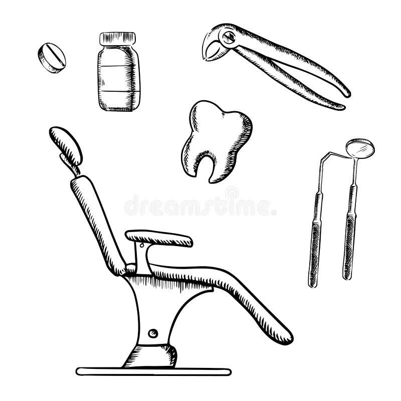 Zahnmedizinskizzenikonen und -gegenstände vektor abbildung