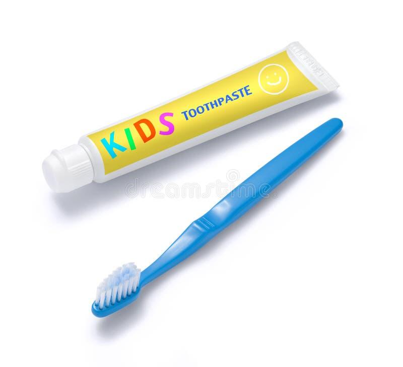 Zahnpasta und Pinsel des Kindes lizenzfreie stockbilder
