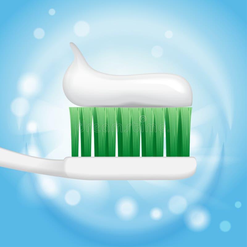 Zahnpastaanzeigen, Zahnpasta auf Zahnbürste auf dem Hintergrund in der Illustration 3d lizenzfreie abbildung