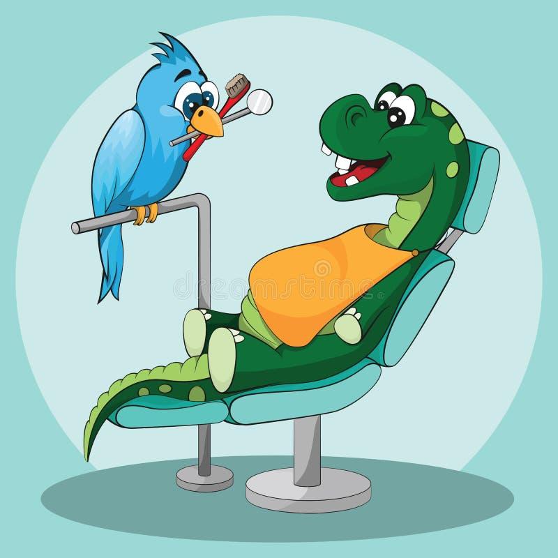 Zahnpflege für Kinder Glücklicher Dinosaurier mit Zahnarzt lizenzfreies stockbild