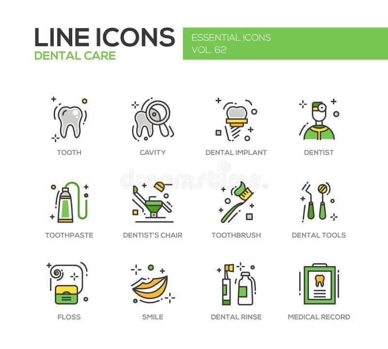 Zahnpflege - Linie Designikonen eingestellt stock abbildung