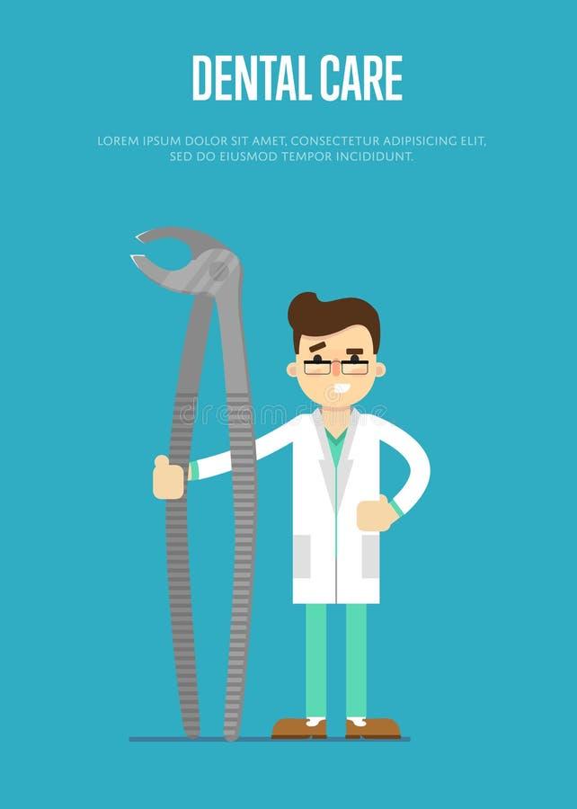 Zahnpflegefahne mit männlichem Zahnarzt vektor abbildung