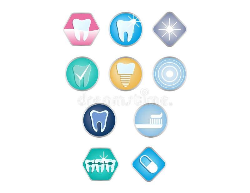Zahnpflegeikonensatz Zahnheilkunde und Zähne interessieren sich Ikonensammlung im Vektor lizenzfreie abbildung