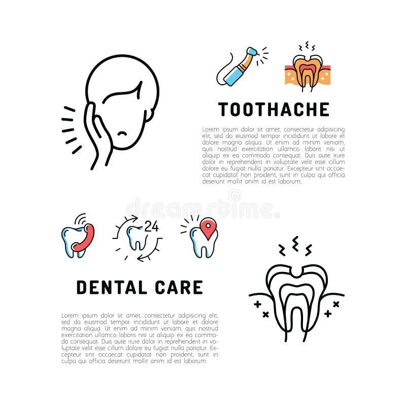 Zahnpflegekarte der Zahnschmerzenikonen Dünne Linie Kunstikonen, Stomatologieflieger der Zahnheilkunde stock abbildung