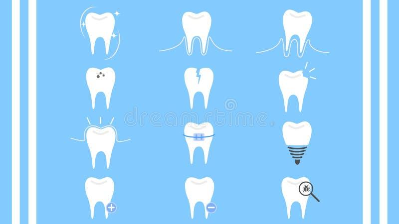 Zahnpflegezahnsammlungs-Ikonenvektor lizenzfreie abbildung