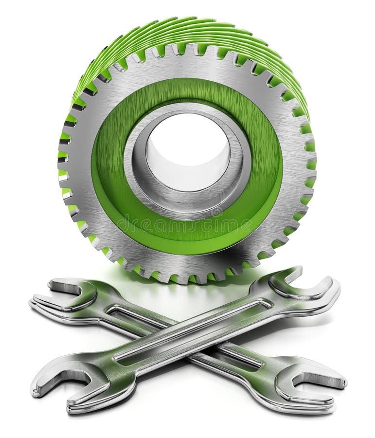 Zahnrad und Schlüssel lokalisiert auf weißem Hintergrund Abbildung 3D lizenzfreie abbildung