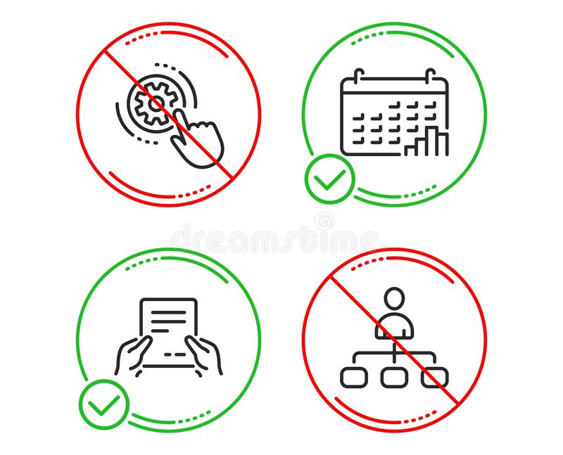 Zahnradeinstellungen, Kalenderdiagramm und empfangen die eingestellten Dateiikonen Management-Zeichen Vektor lizenzfreie abbildung