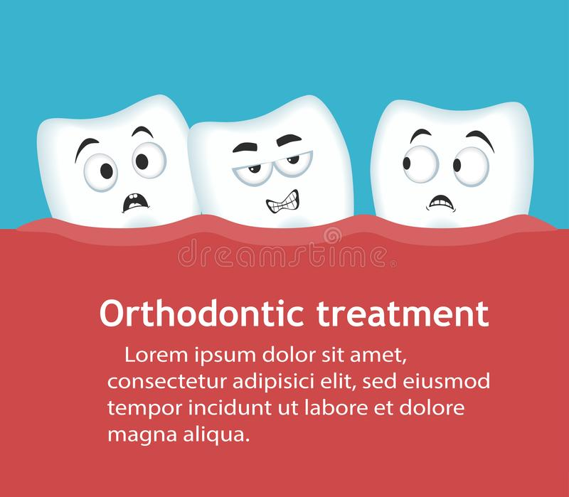 Zahnregulierungenfahne mit Zahncharakteren stock abbildung