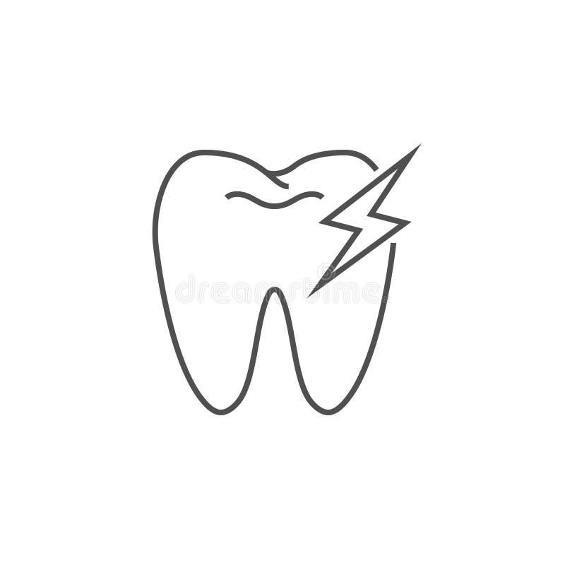 Zahnschmerzen-Linie Ikone lizenzfreie abbildung