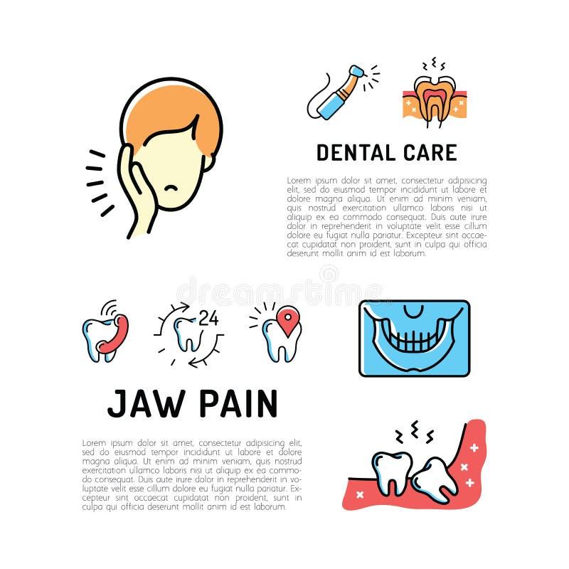 Zahnschmerzen und Kiefer schmerzen dünne Linie Kunstikonen, Zahnpflegekarte Zahnheilkundekarte, Stomatologieflieger stock abbildung