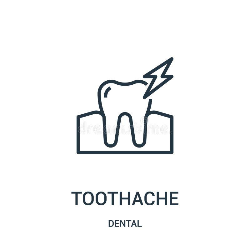 Zahnschmerzenikonenvektor von der zahnmedizinischen Sammlung Dünne Linie Zahnschmerzenentwurfsikonen-Vektorillustration Lineares  stock abbildung