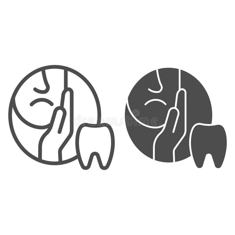 Zahnschmerzenlinie und Glyphikone Zahnheilkundevektorillustration lokalisiert auf Weiß Zahnschmerz-Entwurfsartentwurf vektor abbildung