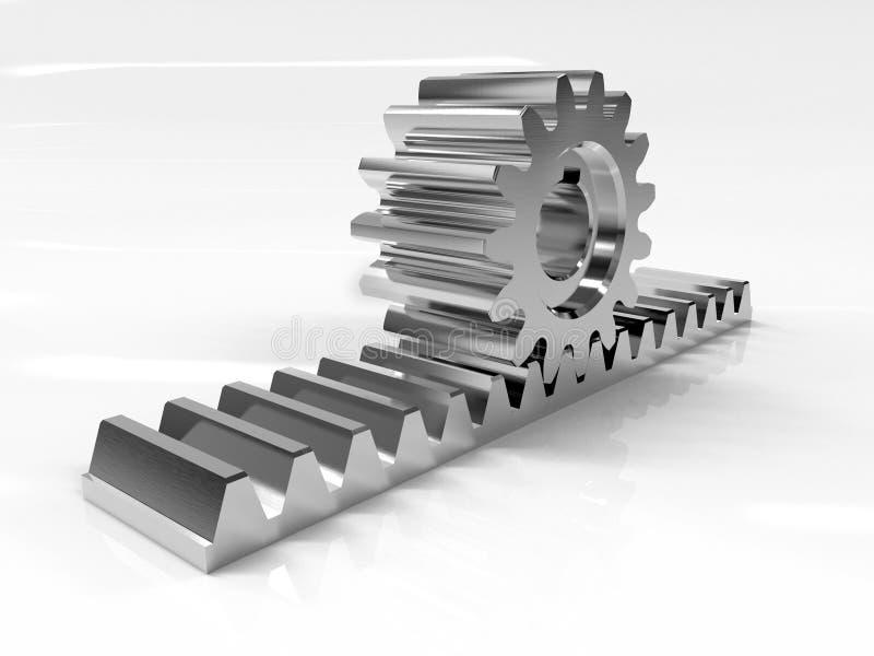 Zahnstange Bild eines Gestells mit einem rollenden Gangrad Mechanismus des gleitenden Tors Pädagogisches Bild Wiedergabe 3d stockbild