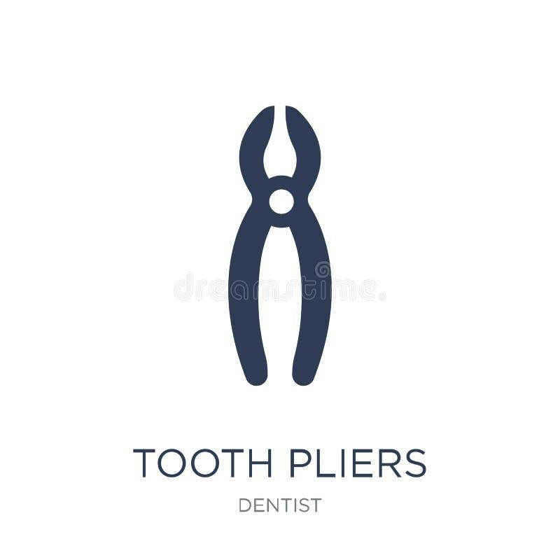 Zahnzangenikone Modische flache Vektor Zahn-Zangenikone auf Weiß stock abbildung