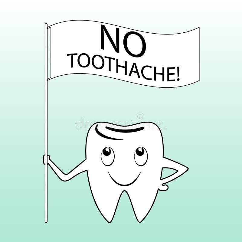 Zahnzeichentrickfilm-figur mit einem Slogan stock abbildung