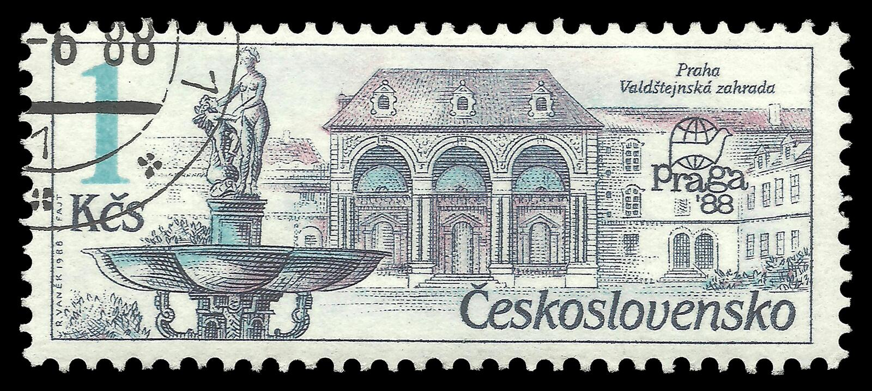 Zahrada de Valdstejnska de fontaine illustration de vecteur