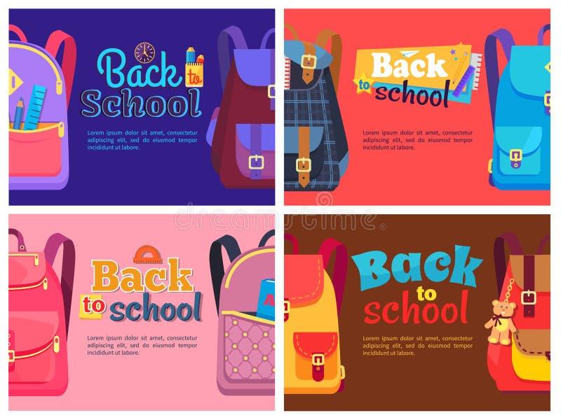 Zainhi per i bambini con gli insiemi della cancelleria della scuola illustrazione vettoriale