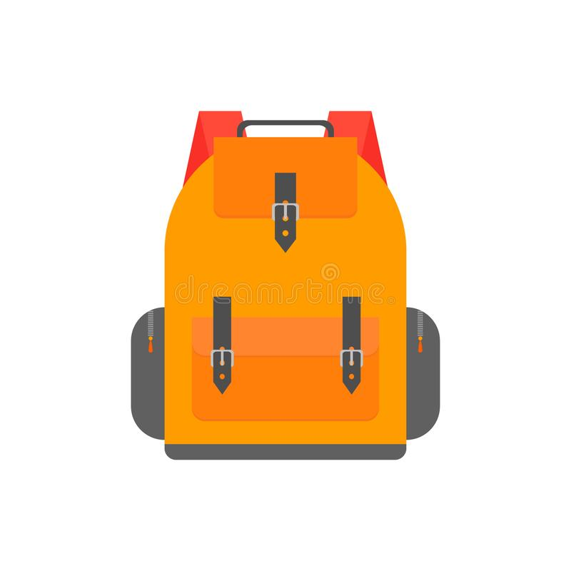 Zaino arancio per lo studio Progettazione dell'illustrazione della cartella illustrazione vettoriale