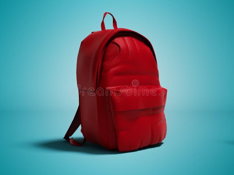 Zaino di cuoio rosso moderno a scuola per il lef di anni dell'adolescenza e dei bambini illustrazione vettoriale