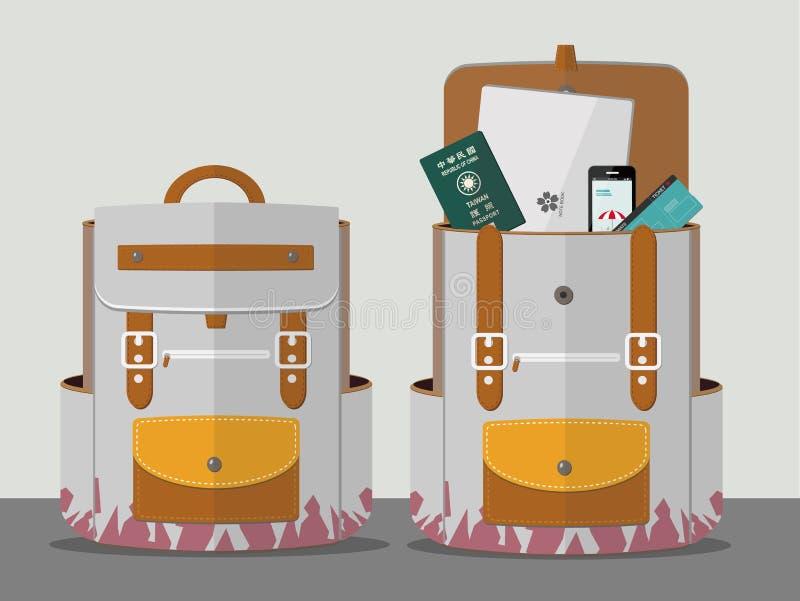 Zaino di viaggiatori con zaino e sacco a pelo illustrazione vettoriale
