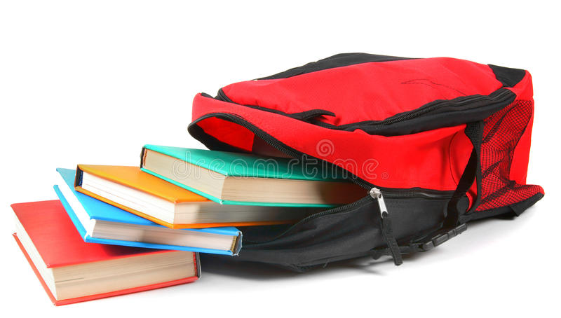Zaino e libri del banco fotografia stock libera da diritti
