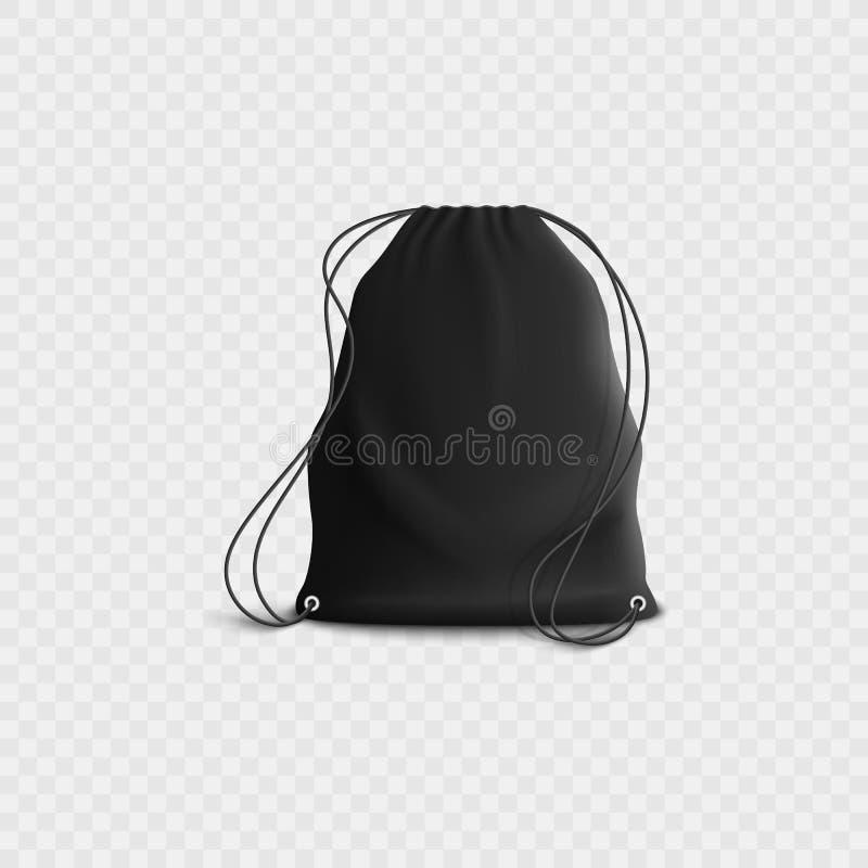 Zaino nero con il cordone, modello in bianco realistico della borsa della palestra di sport con le cinghie della corda royalty illustrazione gratis