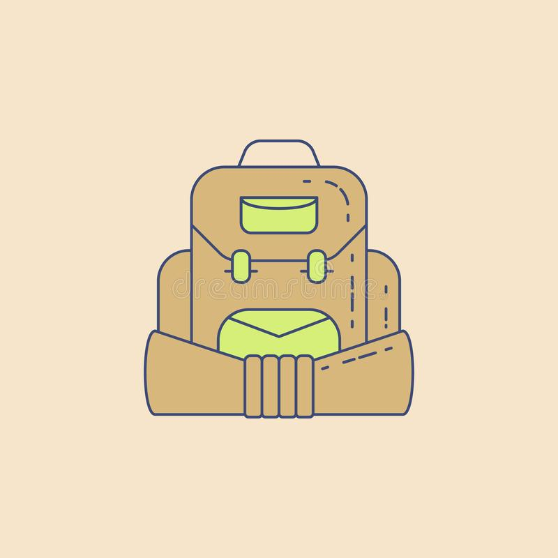 zaino per l'icona del profilo del campo di campeggio Elemento dell'icona all'aperto di ricreazione per il concetto ed il web mobi illustrazione vettoriale