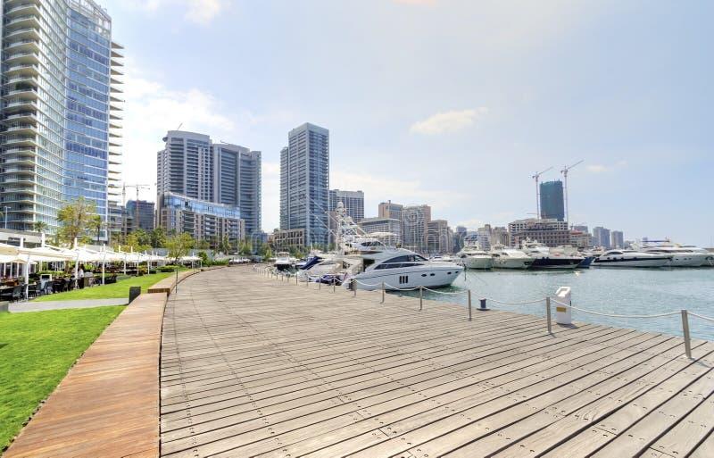 Zaitunay海湾在贝鲁特,黎巴嫩 免版税图库摄影