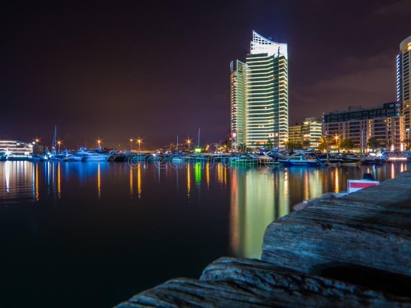 Zaitunay Bay à noite, Beirute, Líbano imagens de stock royalty free