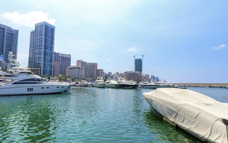 Zaitunay Bay in Beirut, Lebanon. A view of the beautiful Marina in Zaitunay Bay in Beirut, Lebanon. A very modern, high end and newly developed area where yachts royalty free stock photography