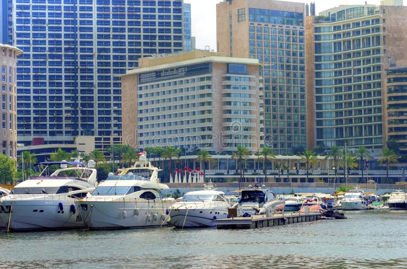 Zaitunay Bay in Beirut, Lebanon. A view of the beautiful Marina in Zaitunay Bay in Beirut, Lebanon. A very modern, high end and newly developed area where yachts stock photos