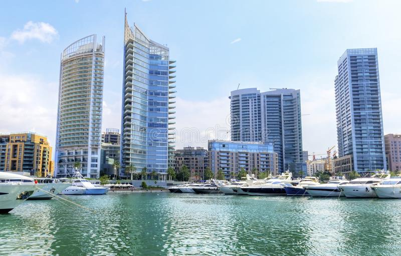 Zaitunay Bay in Beirut, Lebanon. A view of the beautiful Marina in Zaitunay Bay in Beirut, Lebanon. A very modern, high end and newly developed area where yachts royalty free stock image