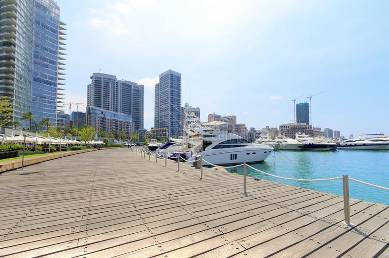 Zaitunay Bay in Beirut, Lebanon. A view of the beautiful Marina in Zaitunay Bay in Beirut, Lebanon. A very modern, high end and newly developed area where yachts stock images