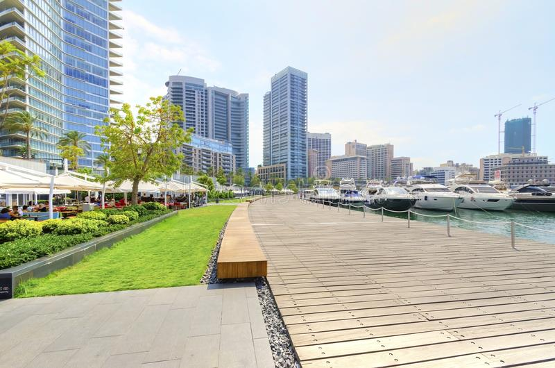 Zaitunay Bay in Beirut, Lebanon. A view of the beautiful Marina in Zaitunay Bay in Beirut, Lebanon. A very modern, high end and newly developed area where yachts royalty free stock photo