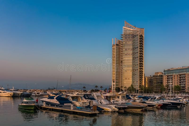 Zaitunay zatoki marina Bejrut Liban obraz stock