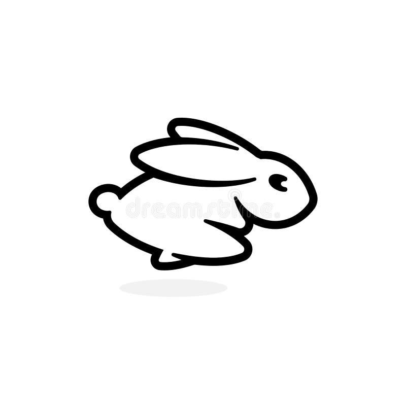 Zajączka emblemata szablon Działająca królik ikona Prostego czarnego konturu sylwetki logo Zajęczy szablon Nowo?ytny poj?cie proj royalty ilustracja
