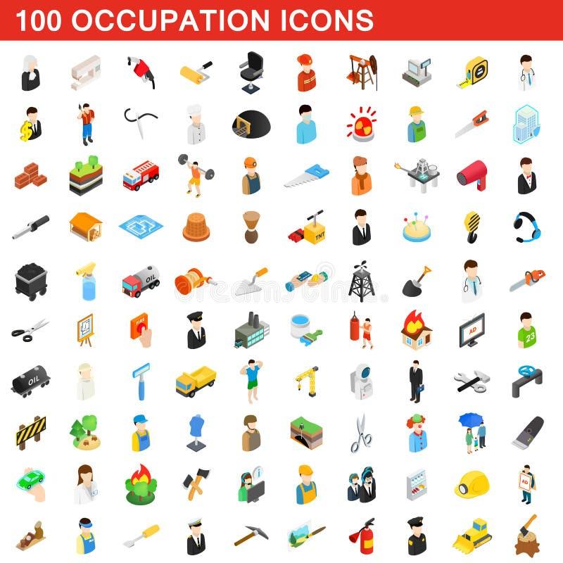 100 zajęć ikon ustawiających, isometric 3d styl ilustracji
