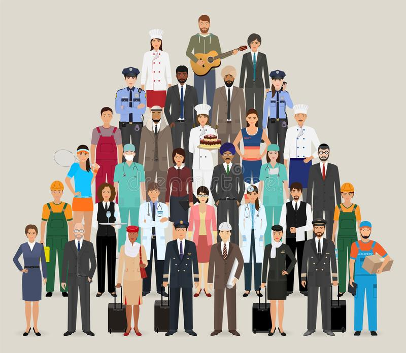zajęć różni grupowi ludzie Pracownika i pracowników charaktery stoi wpólnie ilustracja wektor