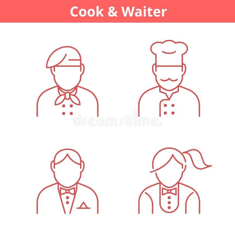 Zajęcia avatar ustawiający: kucharz, szef kuchni, kelner, piekarz Cienieje kontur ilustracji