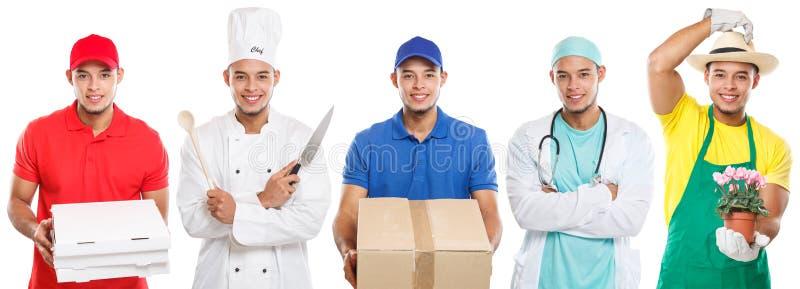 Zajęcia zajęcia edukacji zawodu lekarki stażowego kucharza mężczyzny młoda łacińska praca odizolowywająca na bielu fotografia stock