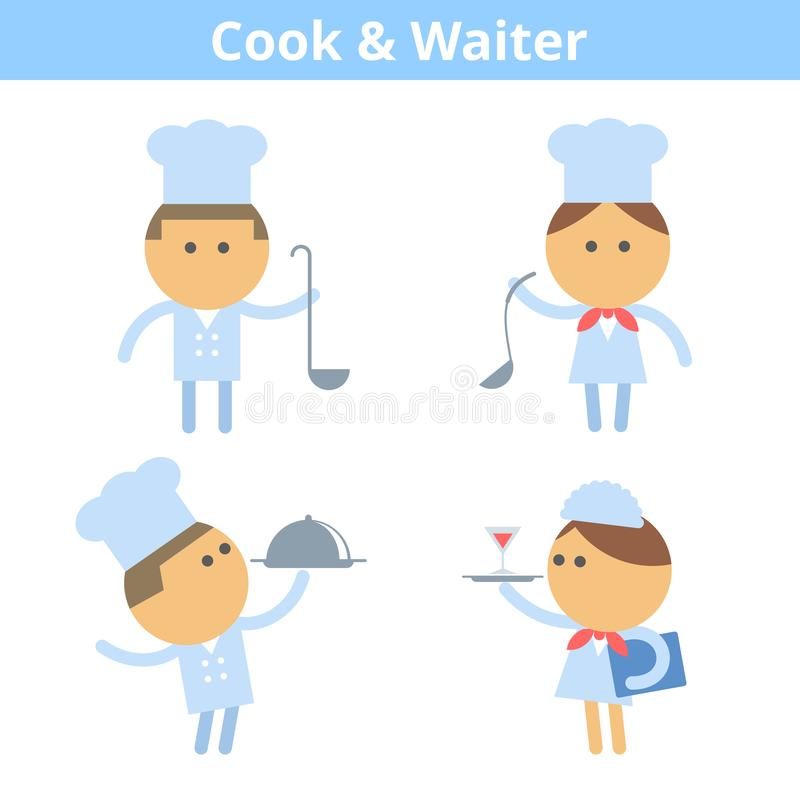 Zajęcia postać z kreskówki - set: kucharz i kelner Wektorowy mieszkanie royalty ilustracja