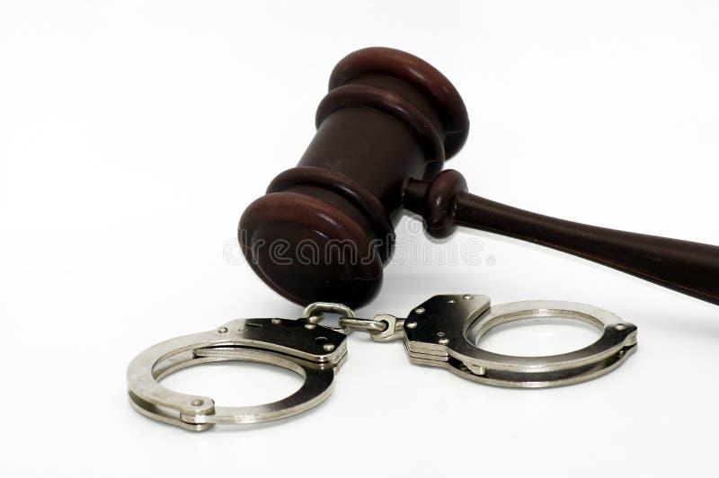 Zakłada kajdanki symbol przestępstwo zdjęcia stock