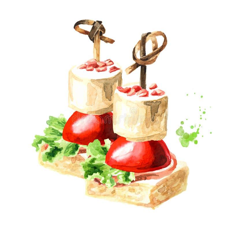 Zakąska dla świątecznego stołu Mini canape z śmietankowym serem, baleronem i czereśniowym pomidorem, akwareli r?ka rysuj?ca ilust ilustracja wektor