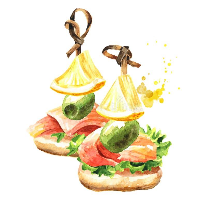 Zakąska dla świątecznego stołu Mini canape z świeżym łososiem polędwicowy, oliwka i cytryna plasterek, Akwareli r?ka rysuj?ca ilu ilustracji