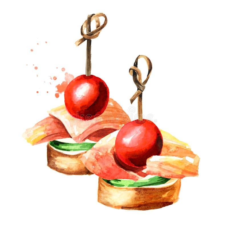 Zakąska dla świątecznego stołu Mini canape z plasterkiem ogórek, świeżego łososia pomidor, polędwicowy i czereśniowy Akwareli r?k ilustracji