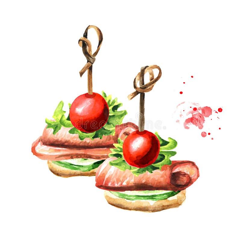 Zakąska dla świątecznego stołu Mini canape z plasterkiem ogórek, baleron i czereśniowy pomidor, Akwareli r?ka rysuj?ca ilustracja ilustracja wektor