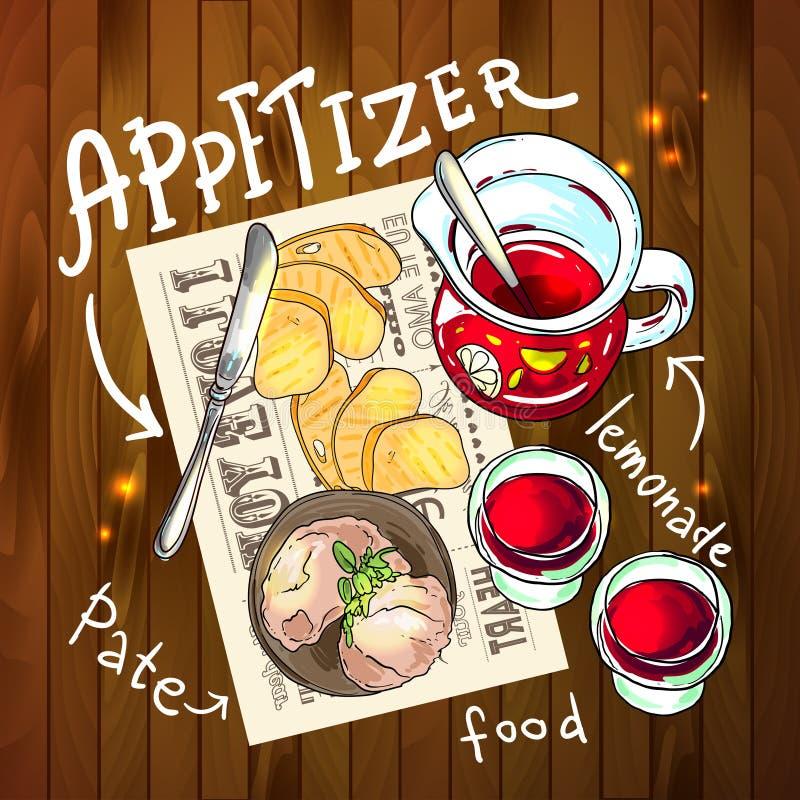 Zakąska i aperitive royalty ilustracja