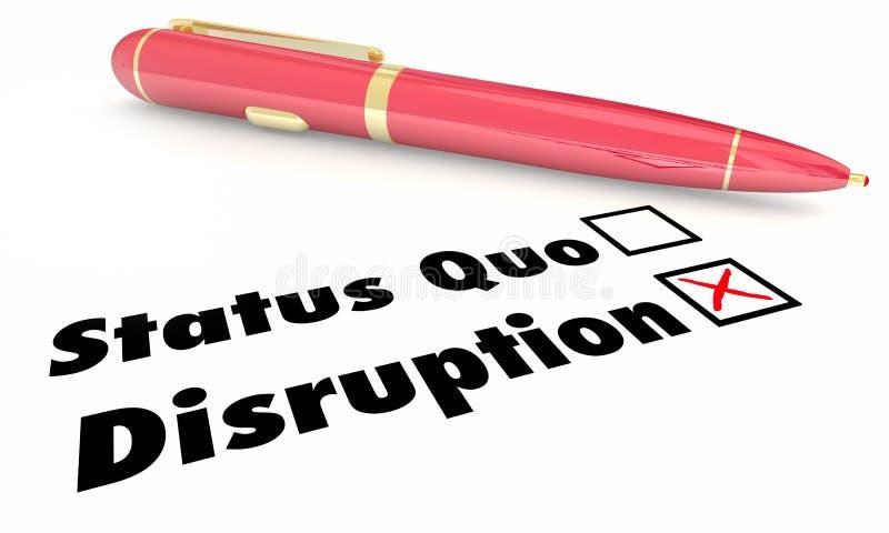 Zakłócenie Vs status quo czeka Mark pudełek pióro ilustracja wektor